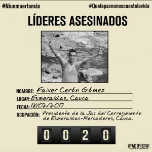 Por qué el asesinato del líder social número 20 debe sacudir a los colombianos