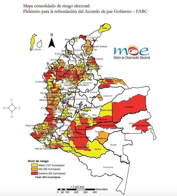 Estas son las zonas de riesgos electorales para el plebiscito por la paz