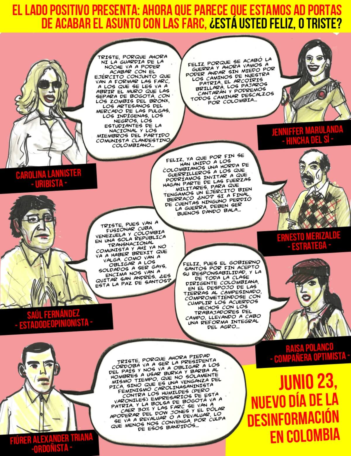 ¿Está feliz o triste por el fin de la guerra con las Farc?: El cómic de Santiago Rivas