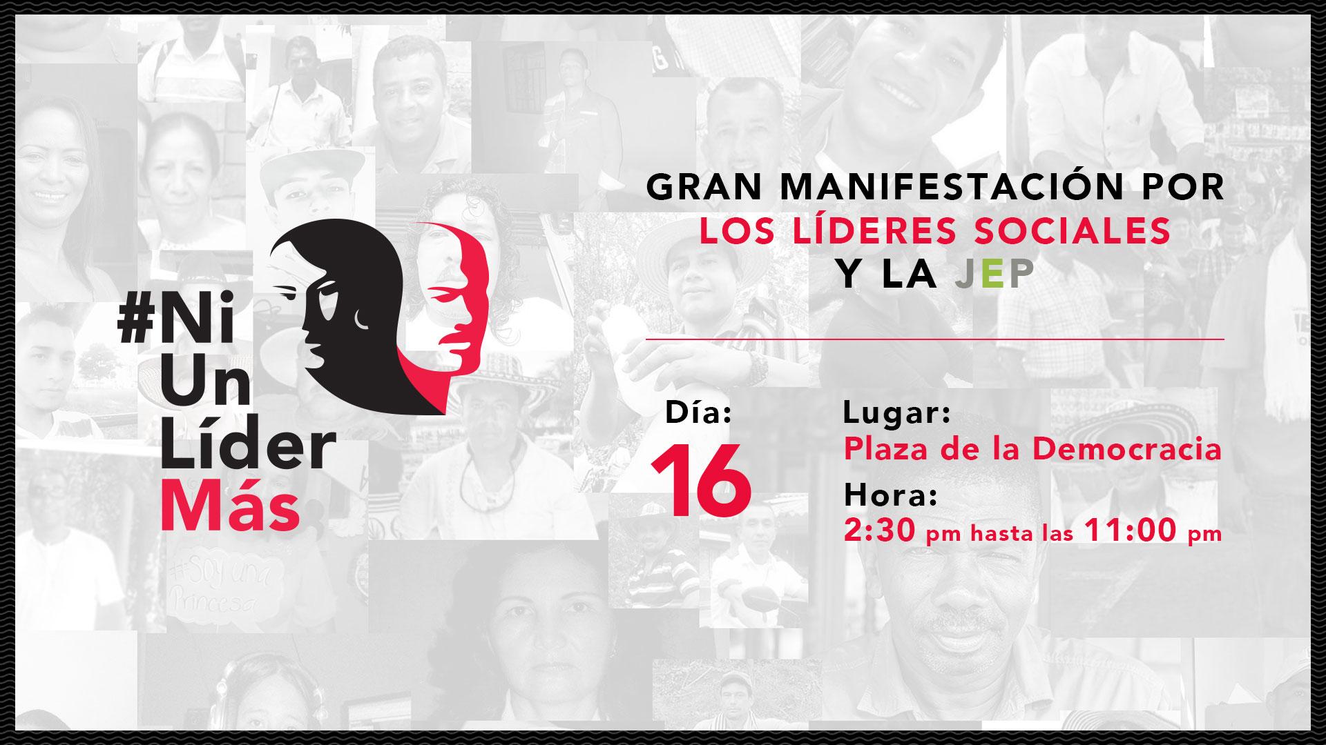 Gran manifestación a favor de los líderes sociales y la JEP: defenderlos es defender la paz