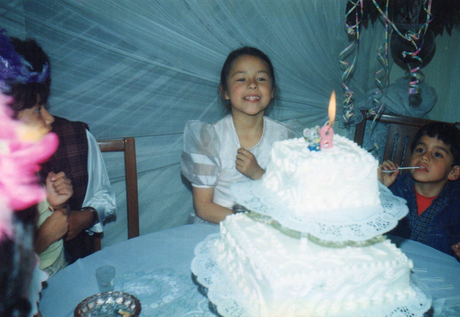 Catalina celebrando su fiesta de 8 años