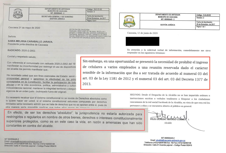 Comparación respuestas Alcaldía Caucasia