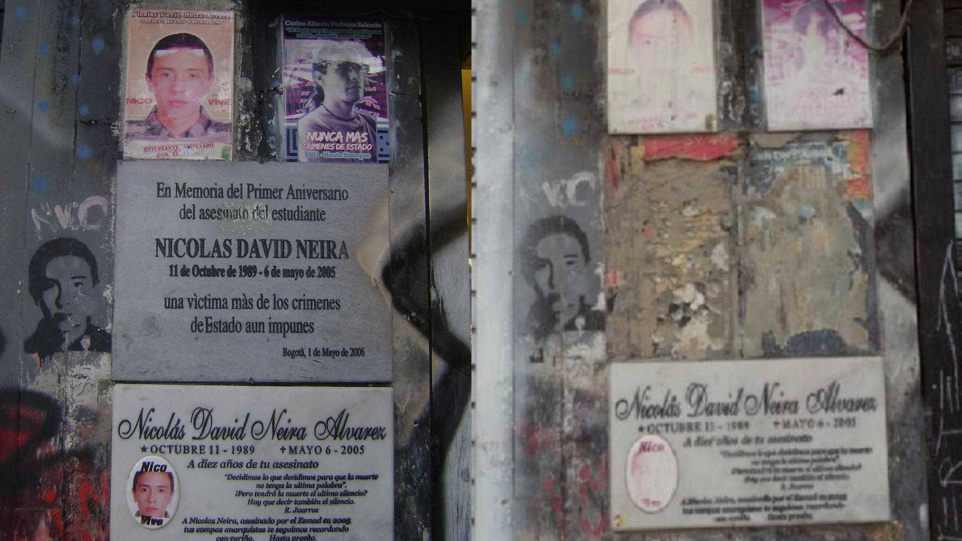 ¿Quién removió la placa de Nicolás Neira, víctima del Esmad hace 15 años?
