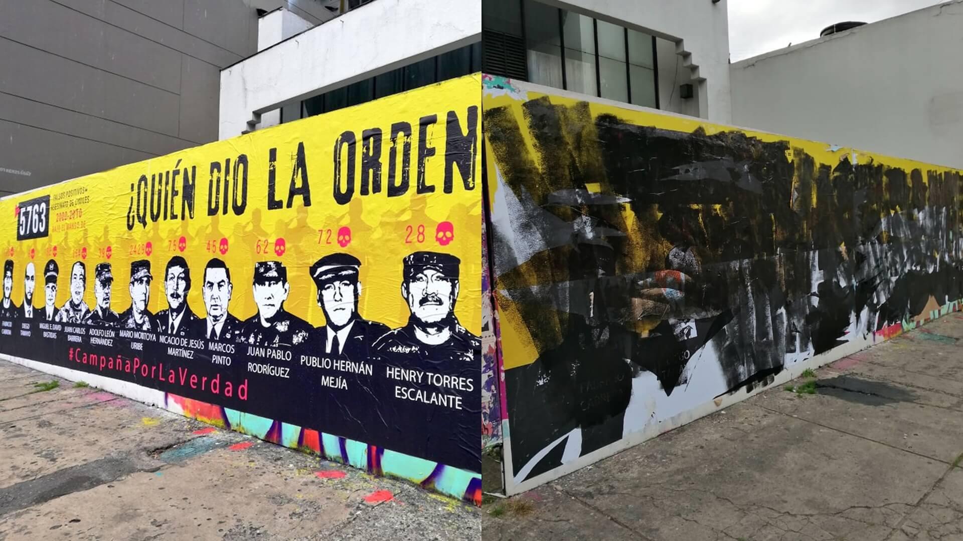 Cero y van tres: destruyen el mural recién instalado de ¿Quién dio la orden? en Bogotá